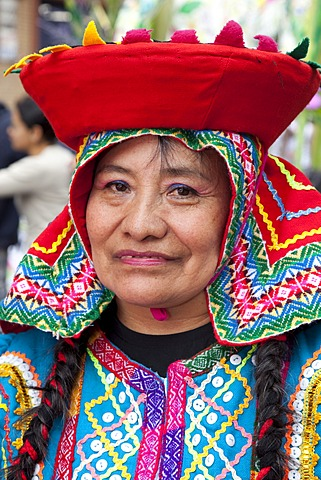 Portrait of Peruvian woman in traditional dress