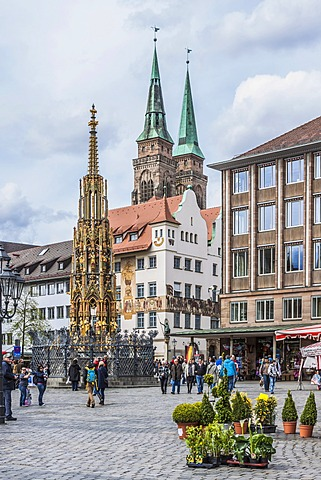 Hauptmarkt square, Nuremberg, Middle Franconia, Bavaria, Germany, Europe
