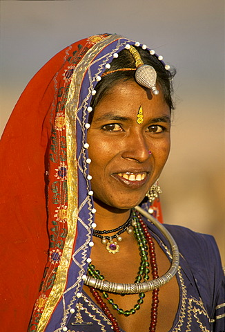 Portrait of a young woman, Pushkar, Rajasthan, India