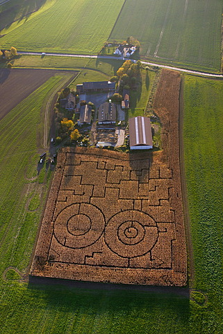 Aerial photo, corn field, corn maze, farm, Iserlohn, Maerkischer Kreis, Sauerland, North Rhine-Westphalia, Germany, Europe