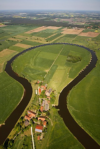 Aerial view, Aller river loop, farm, Aller, farmland, floodplain, Frankenfeld, Lower Saxony, Germany, Europe