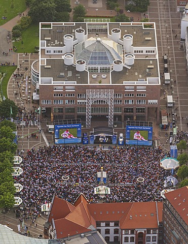 Aerial view, public viewing area at the Euro 2012 quarter final match Germany vs Greece, Friedensplatz square in front of the Town Hall, Dortmund, Ruhr Area, North Rhine-Westphalia, Germany, Europe