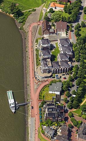 Aerial view, Rhine promenade, Rees, Lower Rhine area, North Rhine-Westphalia, Germany, Europe