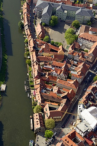 Aerial view, Bamberg Little Venice, Main river, Bamberg, Upper Franconia, Bavaria, Germany, Europe
