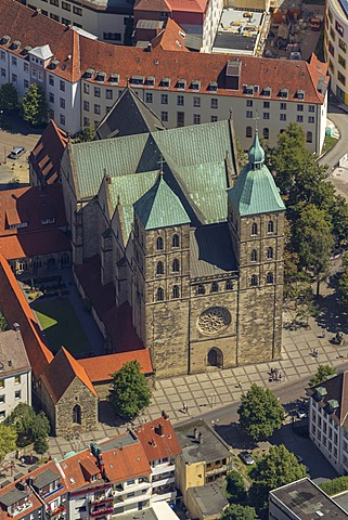 Aerial view, former collegiate church of St. Johann, Osnabrueck, Lower Saxony, Germany, Europe