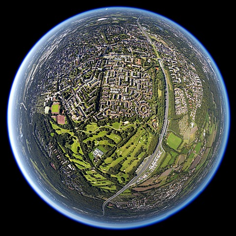 Aerial view, shot with a fisheye lens, Nesselrodeweg settlement and Bruchwiesenring circular settlement, Gelsenkirchen Golf Club, Gelsenkirchen-Buer, Ruhr area, North Rhine-Westphalia, Germany, Europe