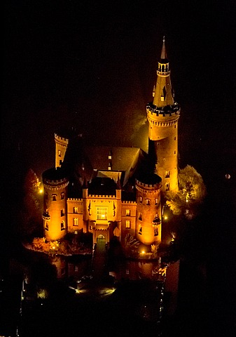 Aerial view of Moyland moated castle, neo-Gothic style, night shot, Bedburg-Hau, North Rhine-Westphalia, Germany, Europe