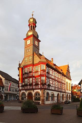 Old town hall, built in 1715, Marktplatz square, Lorsch, Bergstrasse district, Hesse, Germany, Europe