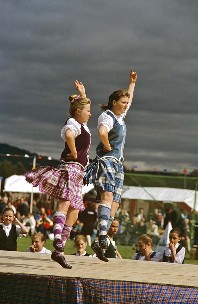 Dancing competition of girls at Highland Games at Ballater Scotland