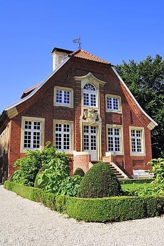Rueschhaus building, built in 1749 by Johann Conrad Schlaun, accommodating the Annette von Droste-Huelshoff Museum, Muenster-Nienberge, Muensterland region, North Rhine-Westphalia, Germany, Europe