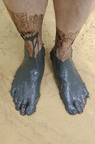 Men's muddy feet, barefoot park, Germany