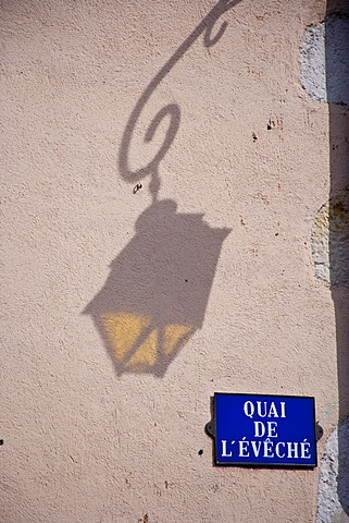 Shadow of a street lamp on a house wall, Annecy, Haute Savoie, France, Europe