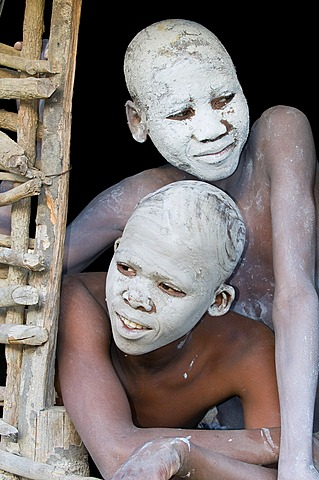 Young persons with painted faces, traditional circumcision ceremony, Transkei, Eastern Cape, South Africa, Africa