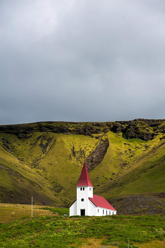 Church in the village of Vik i Myrdal, South Coast, Iceland, Europe