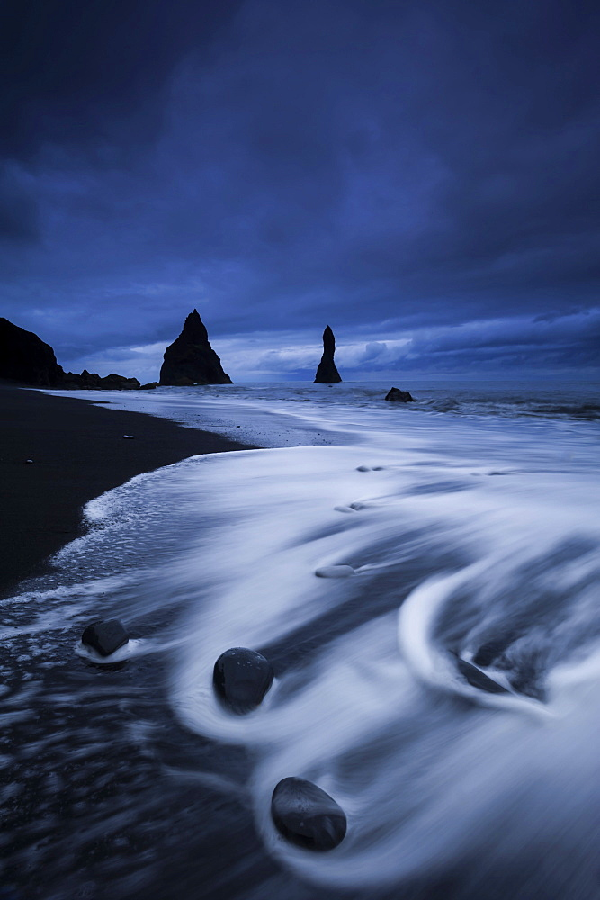 Reynisdrangar rock formation near Vik i Myrdal, black sandy beach, southern coast, Iceland, Europe