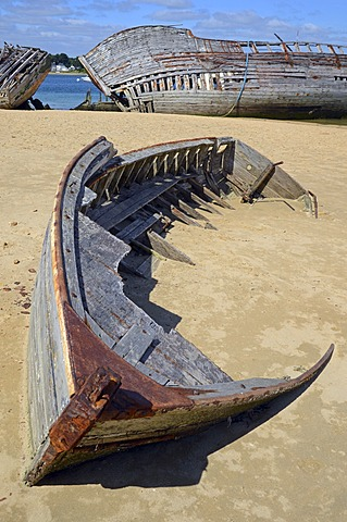 Wrecks of two old wooden ships at the banks of river Étel, southern Brittany, Bretagne, France, Europe