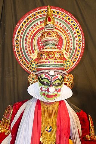The Kathakali character Ravana, Perattil, Kerala, India, Asia