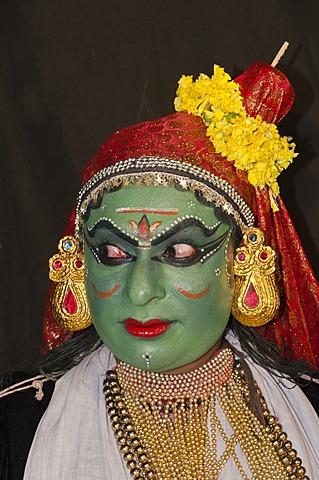 The Kathakali character Kathalastri, Perattil, Kerala, India, Asia