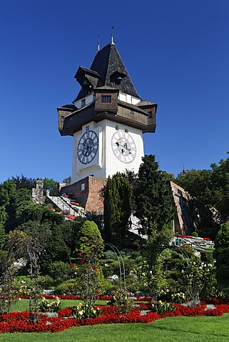 Graz Clock Tower on Schlossberg Mountain, Graz, Styria, Austria, Europe