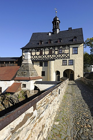 Bridge, bakery with a kitchen chimney and the Amtshaus administrative building or gatehouse, Schloss Burgk Castle, Thuringia, Germany, Europe