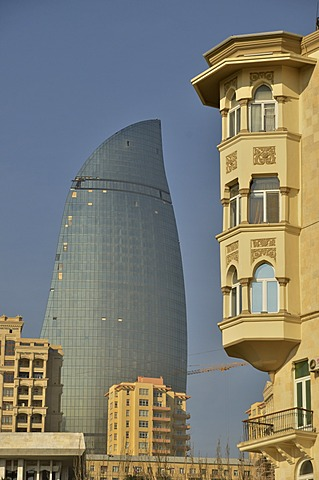 Art Nouveau facade at the beach promenade, Bulevar, in front of the facade of one of the high-rise towers of the three Flame Towers, the new landmark of the city, Baku, Azerbaijan, Caucasus, Middle East, Asia