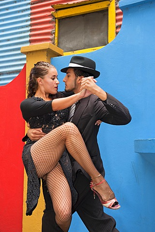 Couple of Tango dancers, El Caminito street, La Boca district, Buenos Aires, Argentina, South America - 832-369308