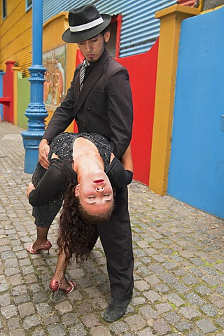 Couple of Tango dancers, El Caminito street, La Boca district, Buenos Aires, Argentina, South America