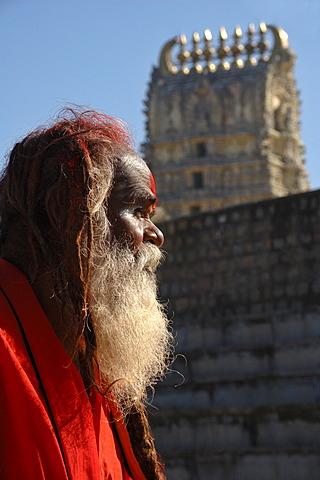 Sadhu in front of Sri Chamundeshvari Temple, Chamundi Hill, Mysore, Karnataka, India, South Asia