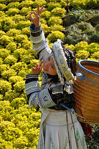 Tourist wearing a traditional costume, Sapa, Vietnam, Asia