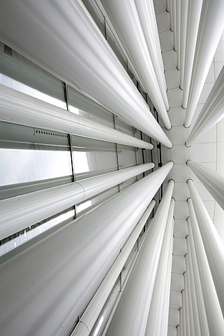 Pillars of the Philharmonie building, philharmonic hall, Place de l'Europe, European Quarter on the Kirchberg-Plateau, Luxembourg City, Luxembourg, Europe