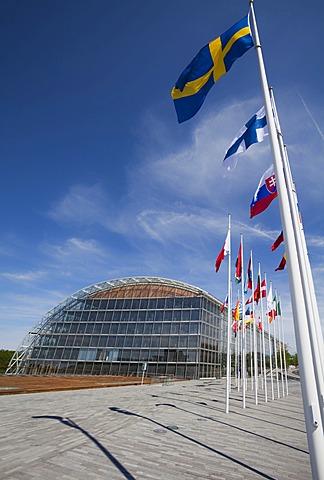 International flags, European Investment Bank, EIB, European quarter, Kirchberg plateau, Luxembourg City, Europe, PublicGround