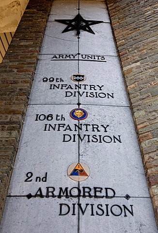 List of the divisions involved, Mardasson Memorial, a memorial to the fallen American soldiers of the Battle of the Ardennes in 1944, Bastogne, Wallonia, Belgium, Europe
