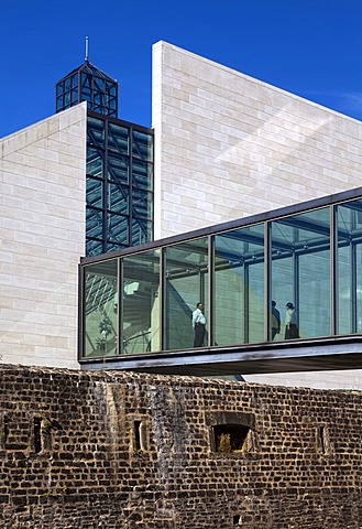 Historic Fort Thuengen or Draei Eechelen and the museum building of Musée d'Art Moderne Grand-Duc Jean, Mudam or Pei Museum, European quarter, Kirchberg plateau, Luxembourg City, Europe, PublicGround