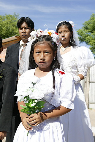 Bridal couple and flower girl, Indian wedding, Lomo Plata, Chaco, Paraguay, South America
