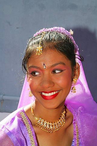 Portrait of a girl of Indian ethnicity at a Hindu Festival in Georgetown, Guyana, South America - 832-369598