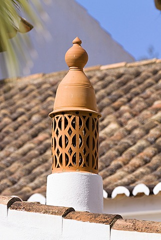 Chimney on a holiday house near Lagos, characteristic of the Algarve, Portugal, Europe