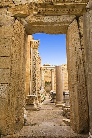 Entrance gate, Severan Basilica, Leptis Magna, Libya, North Africa, Africa