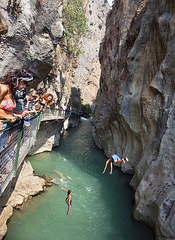 Tourists at Saklikent Gorge near Tlos and Fethiye, Lycian coast, Lycia, Mediterranean, Turkey, Asia Minor