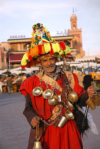 Water seller, Djemaa el Fna, Marrakesh, Morocco, Africa