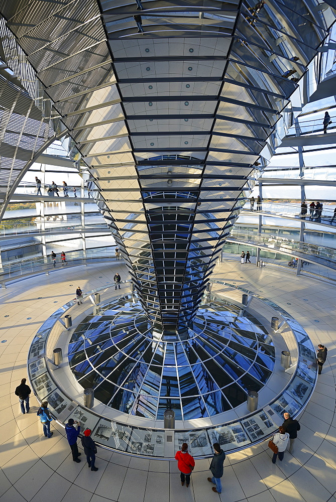 Interior with the mirrored central column of the dome of the Reichstag building, architect Sir Norman Foster, Berlin, Germany, Europe