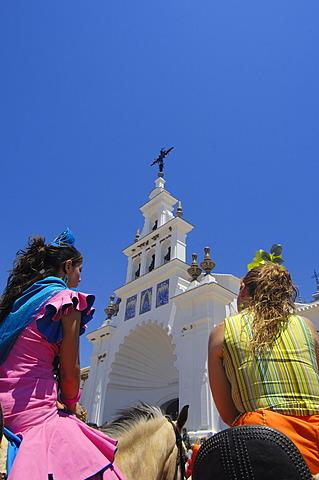 """Pilgrims at El Rocio village, """"Romería"""", pilgrimage, to El Rocío, Almonte, Huelva province, Andalucia, Spain, Europe"""