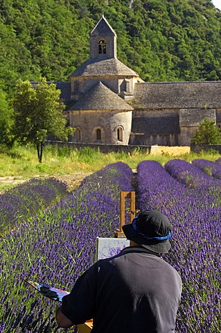 Artist painting in lavender field at Abbaye Notre-dame de Senanque, Senanque Abbey, Gordes, Provence, France, Europe