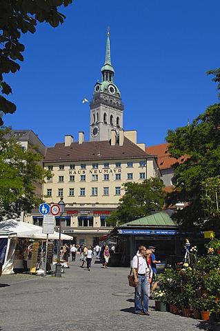Viktualienmarkt market square, Munich, Bavaria, Germany, Europe