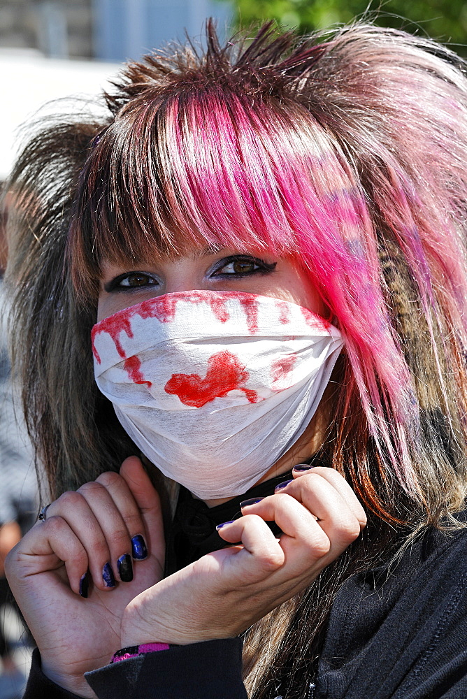 Teen with mask, portrait, Japantag Japan Day, Duesseldorf, North Rhine-Westphalia, Germany, Europe