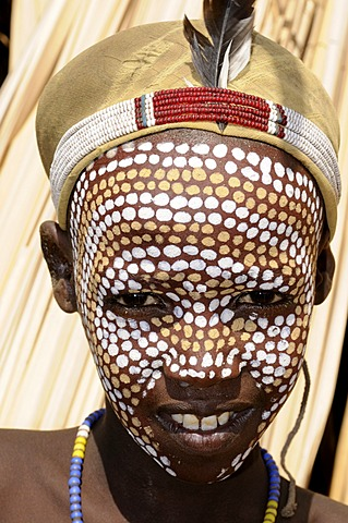 Traditionally painted boy from the Arbore tribe, Omo valley, Ethiopia, Africa - 832-370523