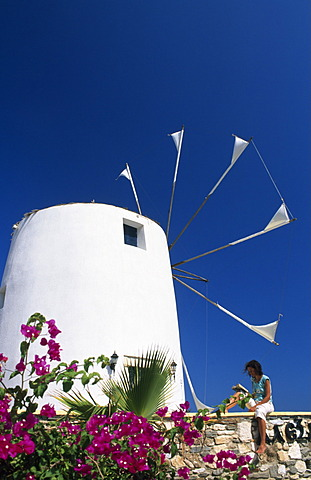 Windmill, town of Paros, Cyclades Islands, Greece, Europe