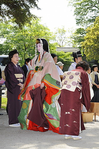 Saio dai, central character of the Aoi Matsuri, Aoi Festival, wearing a traditional headdress and valuable Kimono, Kyoto, Japan, Asia