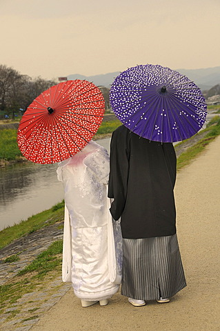 Traditional Japanese wedding couple with traditional paper parasols on the Kamigamo River, Kyoto, Japan, Asia