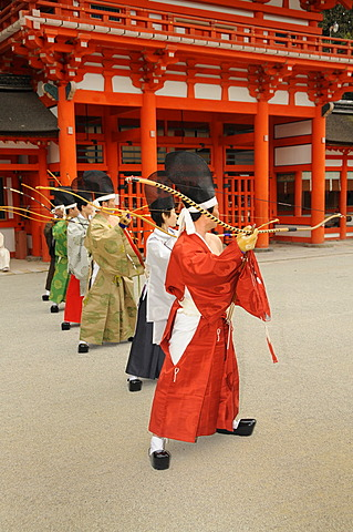 Archers at shooting ritual, archery ceremonial in Shimogamo Shrine, Kyoto, Japan, Asia