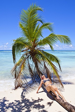 Young woman lying on a coconut tree on the beach, Anse La Passe, Silhouette Island, Seychelles, Africa, Indian Ocean